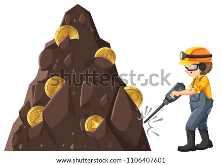 Man mining crytocurrency from ground illustration