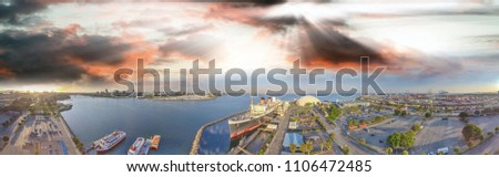 Amazing panoramic aerial view of Queen Mary, docked in Long Beach, California. #1106472485