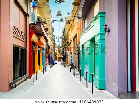 small cosy street with antique shops in Athens, Greece, toned #1106489825