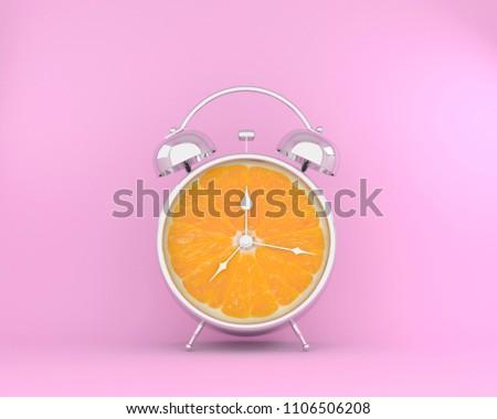 Tropical fruit concept made of orange slice alarm clock on pink pastel background. minimal idea business concept. #1106506208