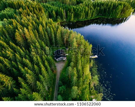 Aerial view of wooden cottage in green pine forest by the blue lake in rural summer Finland #1106522060