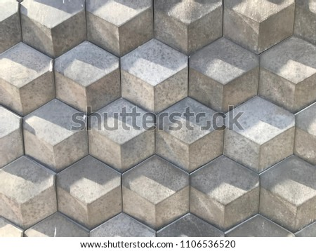 Gray Hexagon geometric tiles texture 3d pattern. Monochrome wall abstract surface background.