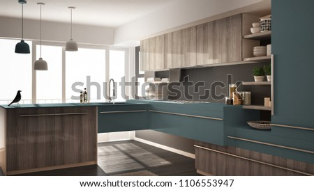 Modern minimalistic wooden kitchen with parquet floor, carpet and panoramic window, gray and blue architecture interior design, 3d illustration #1106553947