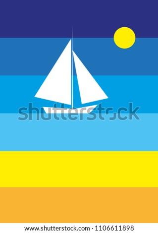 White sailboat in the sea #1106611898