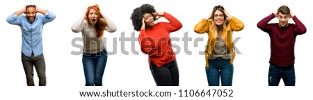 Group of cool people, woman and man happy and surprised cheering expressing wow gesture #1106647052
