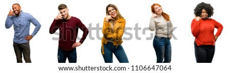 Group of cool people, woman and man happy and excited making showing call me gesture with hand shaped like telephone #1106647064