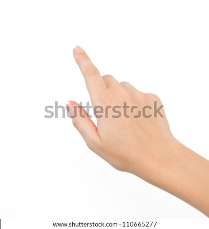 female hand on the isolated background Royalty-Free Stock Photo #110665277
