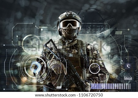 Soldier special forces in glasses with weapons in their hands on a futuristic background.  Military concept of the future. #1106720750