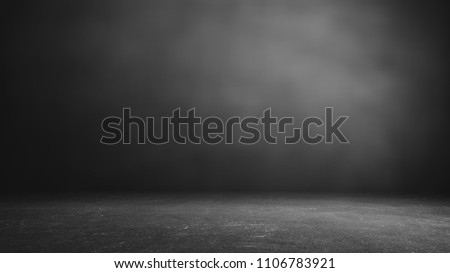 cement floor and black wall backgrounds, room, interior, display products. #1106783921