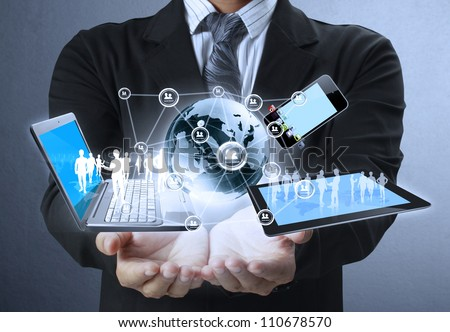 Technology in the hands of businessmen #110678570