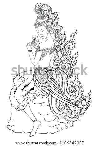Kinnaree lady tattoo.Thai pattern and Ancient art Young lady with flower.beautiful Thai girl doodle art and coloring book Line Thai style.Line art for Thailand tattoo design. #1106842937