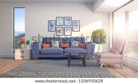 Interior living room. 3d illustration #1106950628