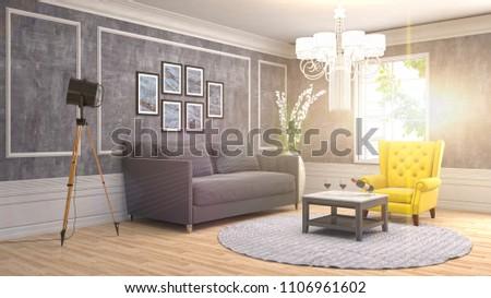 Interior living room. 3d illustration #1106961602
