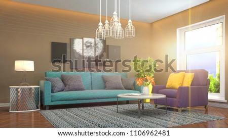 Interior living room. 3d illustration #1106962481