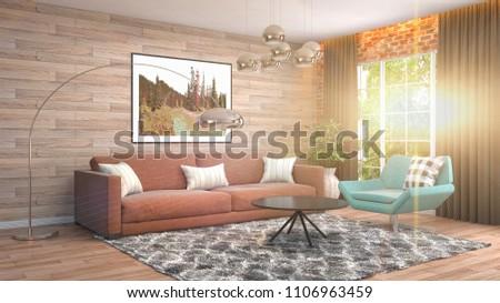 Interior living room. 3d illustration #1106963459