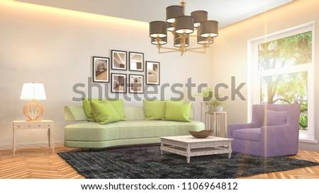 Interior living room. 3d illustration #1106964812