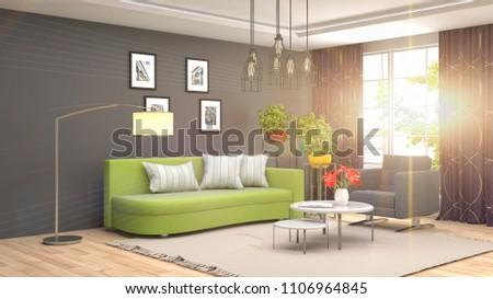 Interior living room. 3d illustration #1106964845