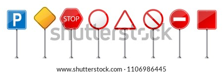 Creative vector illustration of road warning sign isolated on transparent background. Art design realistic blank traffic regulatory template. Abstract concept graphic empty banners mockup element