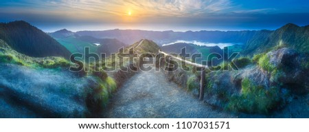 Mountain landscape with hiking trail and view of beautiful lakes Ponta Delgada, Sao Miguel Island, Azores, Portugal. #1107031571