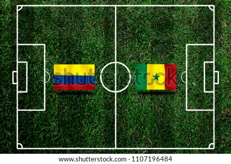 Football Cup competition between the national Colombia and national Senegal. #1107196484