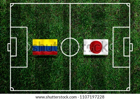 Football Cup competition between the national Colombia and national Japan. #1107197228