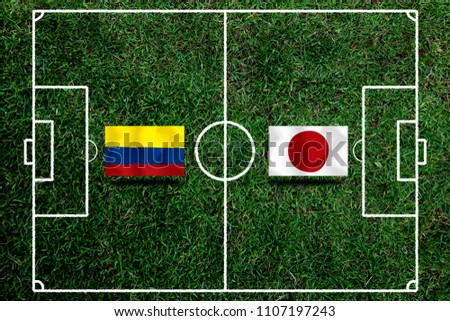 Football Cup competition between the national Colombia and national Japan. #1107197243