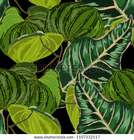 Seamless pattern with tropical leaves: palms, monstera, passion fruit. Beautiful allover print with hand drawn exotic plants. Swimwear botanical design. Vector.  #1107232517