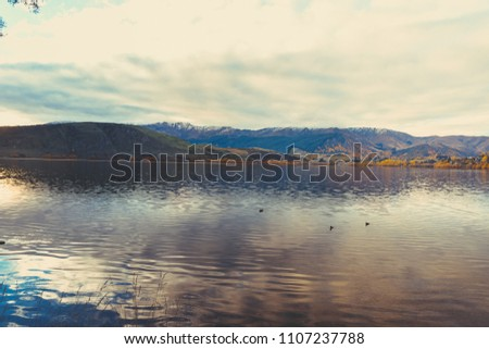 sunset in Lake Hayes, Queenstown New Zealand landscape #1107237788