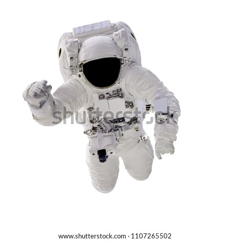 Astronaut in spacesuit close up isolated on white background. Spaceman in outer space. Elements of this image furnished by NASA