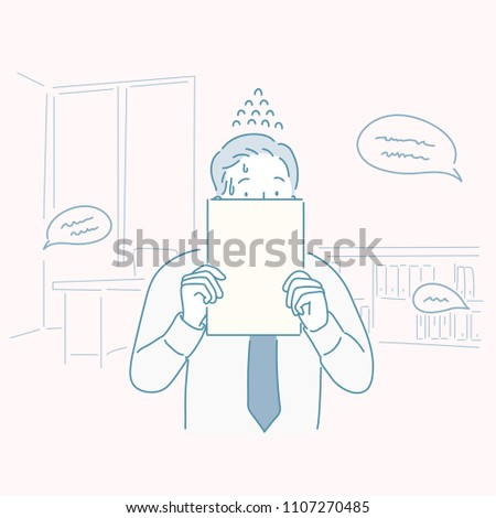 A man whose face was covered with paper after being scolded by the company. hand drawn style vector doodle design illustrations.
