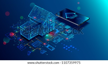 IOT concept. Smart home connection and control with devices through home network. Internet of things doodles background. Royalty-Free Stock Photo #1107359975