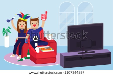 Illustration vector flat cartoon character of happy couple love of young man and woman eating pizza and drinking beer on couch at home together. Party of football fans cheering celebration on match #1107364589