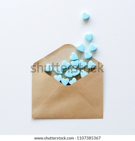 You've got mail image with heart shape sugar cubes pouring from the envelope