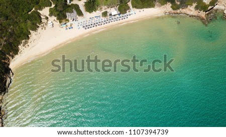 Aerial drone bird's eye view photo of famous turquoise water sandy beach of Psili Amos near port of Gavrio, Andros island, Cyclades, Greece #1107394739