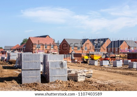 New build houses building construction site, Cheshire, England,  #1107403589