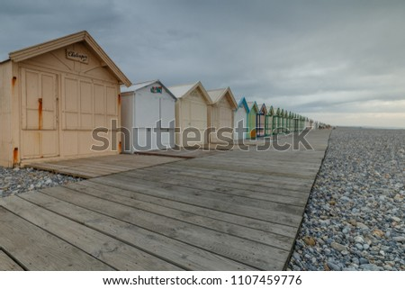 France west coast Cayeux 26 May, 2018 beach cabins at the longest boardwalk of Europe. #1107459776
