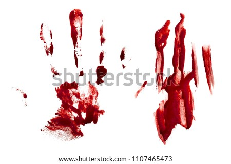 Blood palm prints, red fingerprints smeared on white background #1107465473