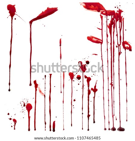 Blood leaks set on white background