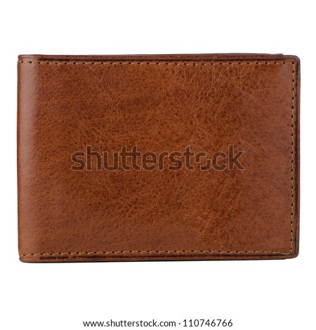 Brown leather wallet isolated on white background. Royalty-Free Stock Photo #110746766