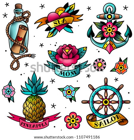 Old tattooing school colored icons set with message in a bottle pineapple helm rose flowers ribbons with inscriptions anchor heart nautical knot symbols isolated vector illustration Royalty-Free Stock Photo #1107491186