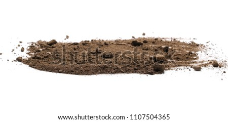 Dirt pile isolated on white background, with clipping path, side view Royalty-Free Stock Photo #1107504365