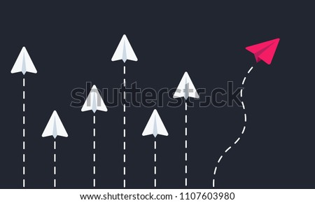 Flying paper airplanes. Think different. Vector illustration. Royalty-Free Stock Photo #1107603980
