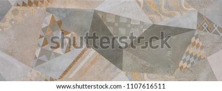 ceramic tile, vintage ornate pattern, abstract geometry #1107616511