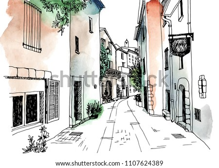 Old town street in hand drawn sketch style. Vector illustration. Small European city. France. Urban landscape on watercolor colorful background Royalty-Free Stock Photo #1107624389
