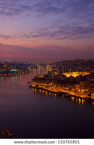Porto and river Douro at sunset, Portugal #110765801