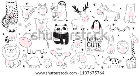 Vector cartoon sketch illustration with cute doodle animals. Perfect for postcard, birthday, baby book, children room. Panda, koala, sloth, leopard, hippo, raccoon, giraffe, bear, lion