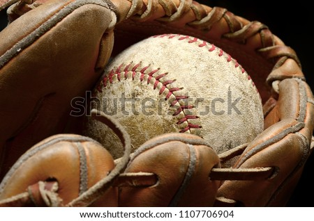 Baseball and mitt for playing game Royalty-Free Stock Photo #1107706904