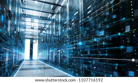Shot of a Working Data Center With Rows of Rack Servers Connected with LAN Connection Visualisation Lines. #1107716192