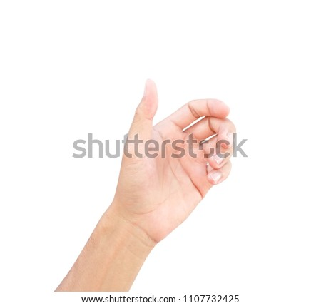 Man hands holding something on white background for product advertising concept #1107732425