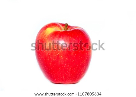 red beautiful Apple on white background, homemade Apple #1107805634